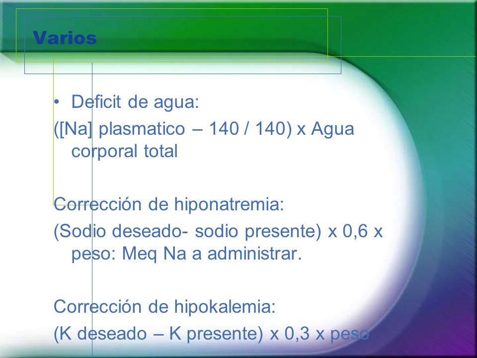 Varios Deficit de agua: ([Na] plasmatico – 140 / 140) x Agua corporal total. Corrección de hiponatremia: